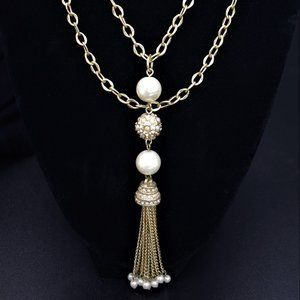 """Matte gold, crystal and pearl necklace 29-32"""""""